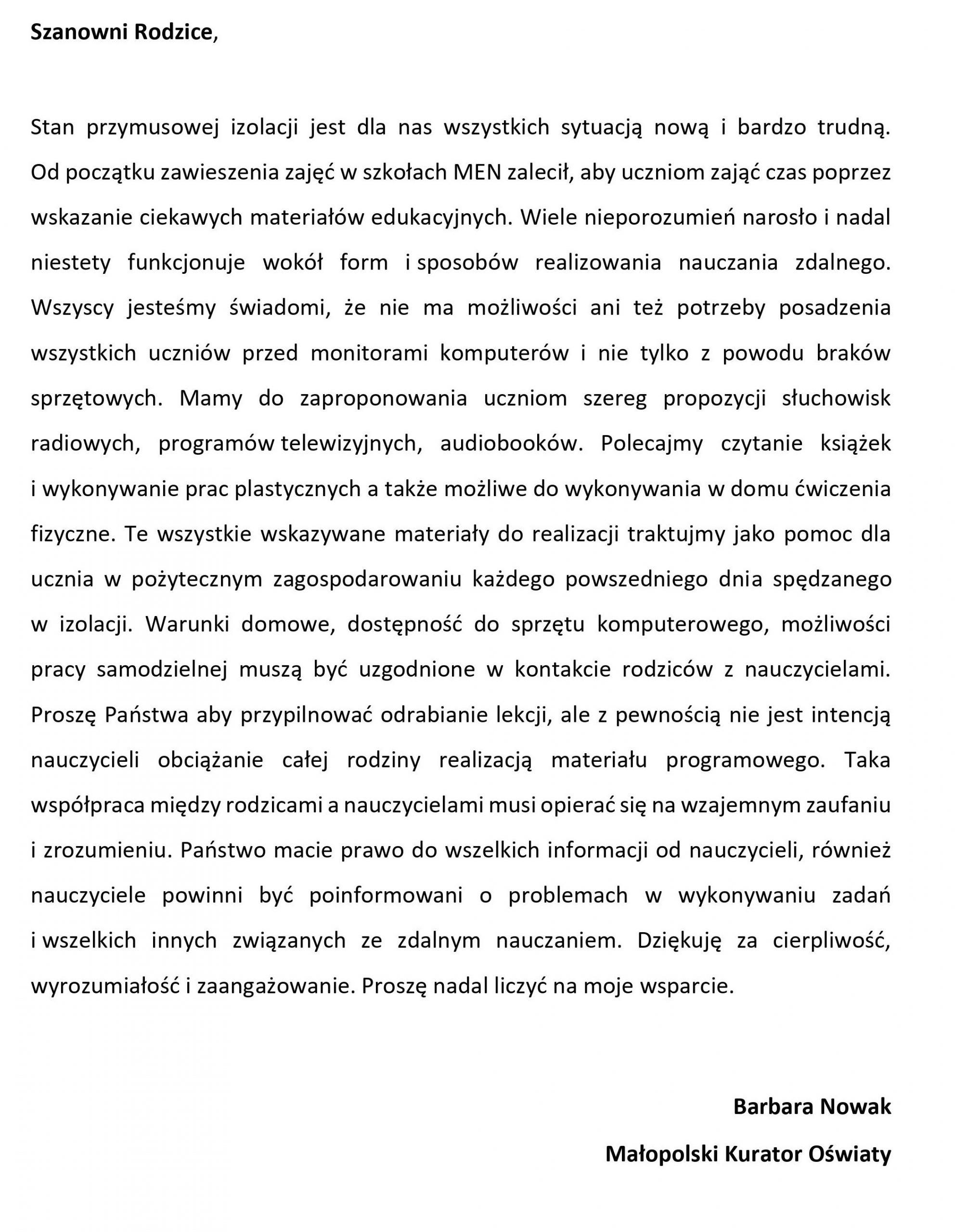 List Małopolskiego Kuratora Oświaty do Rodziców